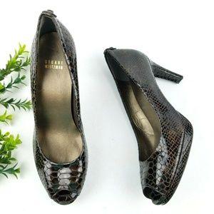 STUART WEITZMAN Peep Toe Croc Patent Heels S18